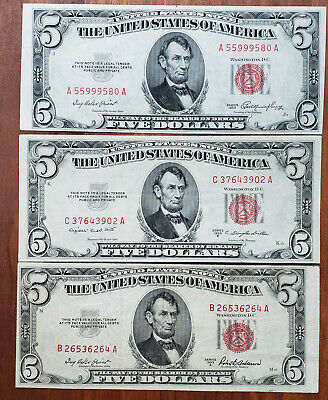 1953 $5 US Note Red, Set of 3 with 1953A 1953B, Fancy Serial Number: 55999580