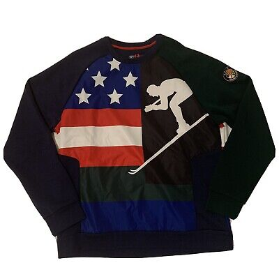 Polo Ralph Lauren Mens Sweater Size Large 1992 SKI POLO USA FLAG $298 MSRP