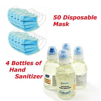 4 Bottles of Sanitiezer & 50 Face Mask Medical Surgical Disposable 3-Ply