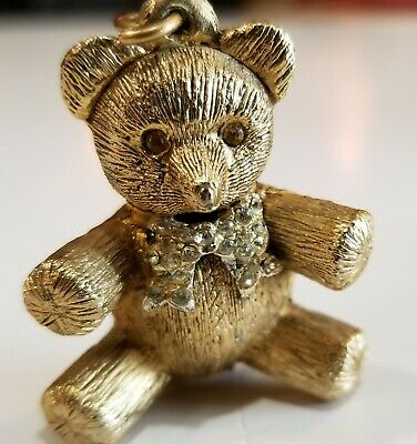 Vintage Max Factor Teddy Bear Solid Perfume Compact Jeweled Pendant