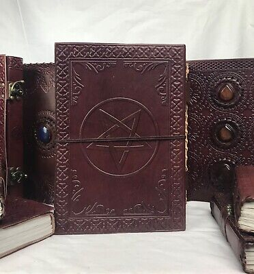 Hand Made Leather Bound Book/Journal Natural Recycled Paper Pentagram18 x 13 cm
