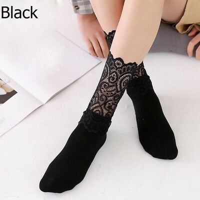 3 Pairs Lady Girls Socks Hollow Lace Spliced High Ankle Solid Socks Fashion Thin