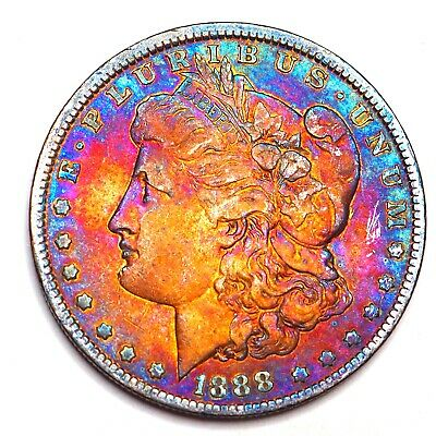 1888-O Rainbow Toned Morgan Silver Dollar 90% Silver $1 Coin Us #L105