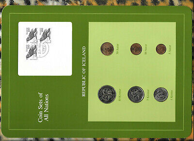 Coin Sets of All Nations Iceland wcard 1981 & 1984 5,10 Kronur 1984