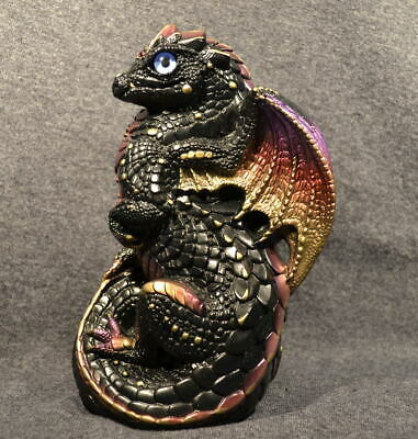 Windstone Editions Young Dragon Black-Gold 1988. Pre-Owned Excellent Condition