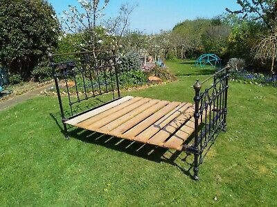 * Antique Victorian Cast Iron & Brass Double Bed *