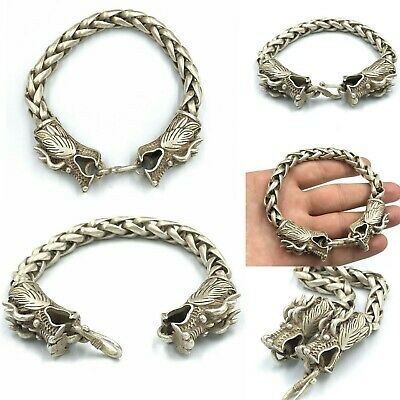Beautiful Ancient Viking Bronze Medival Bracelet With 2 Dragon Heads
