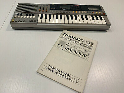 Vintage Casio PT-50 Electronic Keyboard + Manual | Musical Instrument | SILVER |