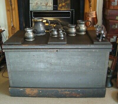 Large ANTIQUE Vintage Wooden Tool Chest & Trays ~ Shipwright's Trunk ~ Project