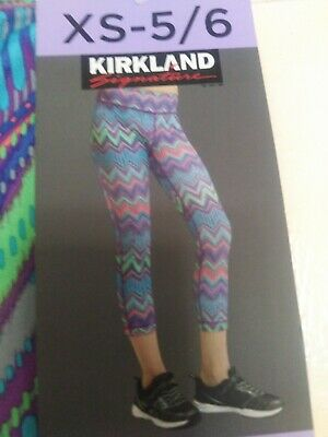 Kirkland Signature Girls' Active Moisture Wick Gym FASHION Leggings BNWT Age 5-6