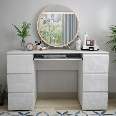 Dressing Table Makeup Desk Computer Work Office Desk w/High Gloss Drawers White