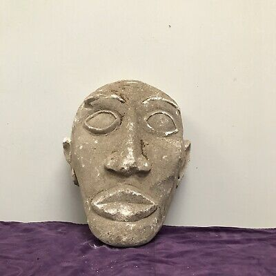 Antique naive stone  hand carved head, possibly Polynesian, limestone type rock.