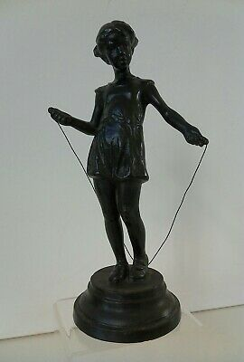 Russian CCCP Cast Metal Figure of Girl Skipping Art Deco Style 1976