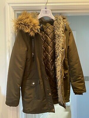 Girls New Look Parka Coat age 12-13 years good condition. Detachable fur hood.