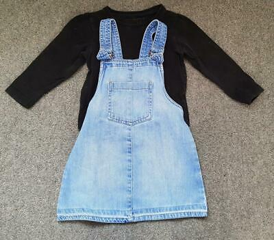 Lovely 2 Piece Outfit, Long Sleeve Top And Denim Pinafore Set,  3-4 Yrs,