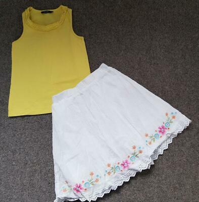 Lovely 2 Piece Outfit, Vest T Shirt Top And Embroidered Skirt Set,  3-4 Yrs,