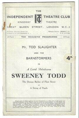 1933 Kingsway Independent Theatre Club programme Sweeney Todd Tod Slaughter