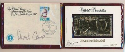 Australia: 1987 23ct Gold Stamp - America's Cup Winner autographed Dennis Connor