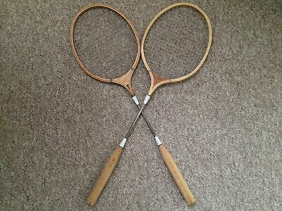 vintage cream and teal wooden badminton racquets ( collection bath somerset )