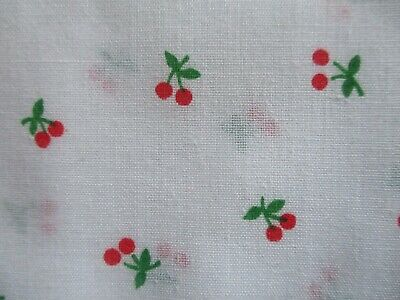 Vintage Fabric Sewing Material Small Scale cherries  on White 1 3/4 yds x 44
