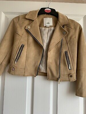 River Island Girls Brown Soft Suede Feel Biker Jacket Age 7-8