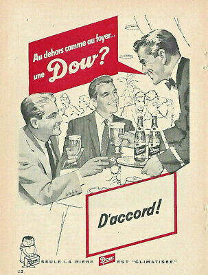 1957 Dow Ale Seved In A Restaurant Original Ad In French