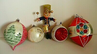 Lot Vintage Glass Christmas Ornaments Hand Blown Mercury West Germany + Drummer