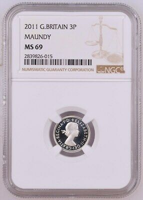 2011 Great Britain Maundy 4 Coin Set: Ngc Ms 69.