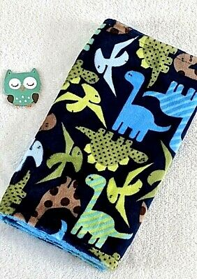 Handcrafted, Dinosaurs Minky Print & Blue Minky Bubble Baby Burp Cloth
