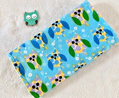Handcrafted, Flannel, Blue Owl Print & Yellow Bubble Minky, Baby Burp Cloth