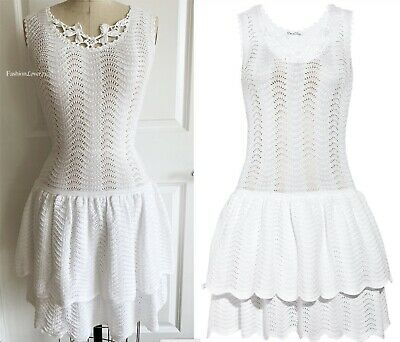 Oscar De La Renta White Crochet Knit Lace Fit & Flare Dress M