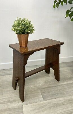 Antique Small Oak Stool Milking, Stool Display Small Side Table, Handmade MY94