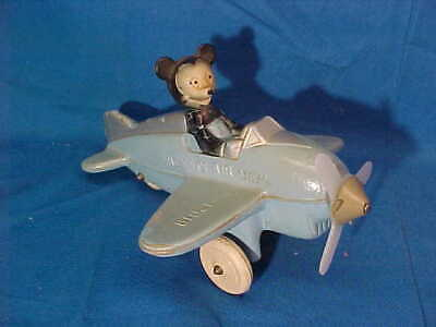 Orig 1940s WALT DISNEY Figural MICKEY MOUSE AIR MAIL Toy by SUN RUBBER