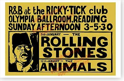 The Rolling Stones And The Animals Retro 1964 Ricky Tick Club Concert Poster