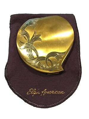Vintage Elgin American Gold Tone Heart Design Compact Made In USA