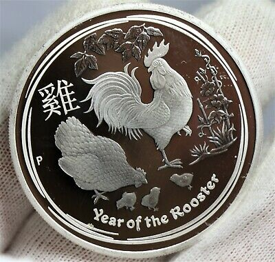 2017 Australia PROOF Lunar Year of the Rooster 1oz SIlver $1 Coin