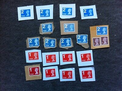 Large Letter Machin stamps 1st & 2nd class Unfranked on paper
