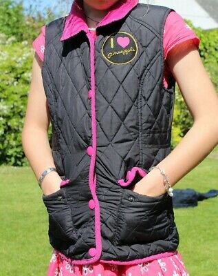 Girls Pinapple Body Warmer Black And Pink Age 8-9