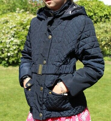 Girls Quilted Navy Hooded Coat With Belt Aged 7-8.