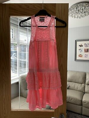 Ladies Superdry Neon Pink Beach Cover Up Dress Size L 12-14
