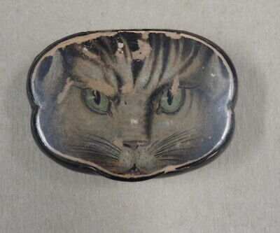 Antique Snuff Box Dated December 7 1869 Papier Mache Transfer Cat  French?