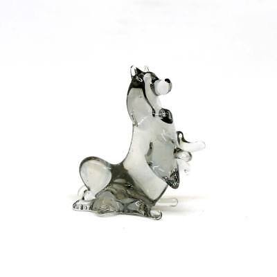 Middle blown Russian art glass figurine Dog - Spitz sitting #160-2