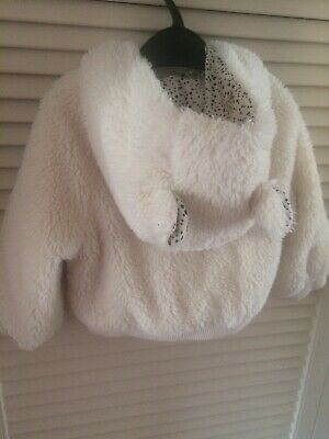 GIRLS BABY GAP White Fluffy JACKET COAT KIDS AGE 2 YEAR Ears And Hood