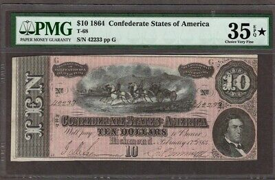 1864 $10 T-68 Confederate Note, PMG 35 EPQ, STAR(for superb quality)!!
