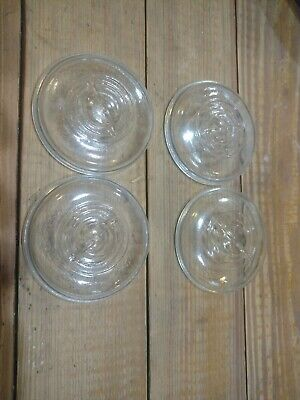 4 Wire Bail Canning or Mason Jar Clear Glass Lids With Circle Design on Top