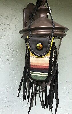 Vintage Native American Leather Fringed Beaded Medicine Seed Tobacco Bag Pouch