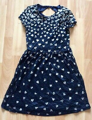 Pretty Navy & White Heart Design Girls Dress - Age 13-14 - Just 99p