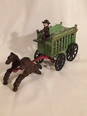 Antique Cast Iron Horse  Drawn Circus Wagon With Driver Unmarked