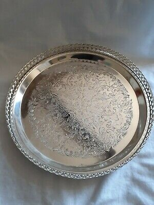 Silver Plated. Round Footed Tray. Good Condition