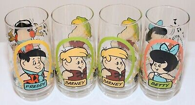 "❤️6"" The Flintstones Kids 1986 Hanna-Barbera Pizza Hut Vtg Glasses Cup Set❤️"